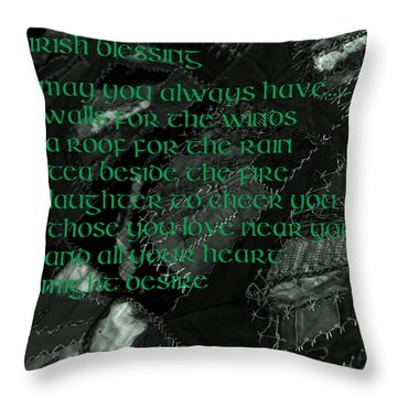 Irish Blessing Stitched In Time Throw Pillow
