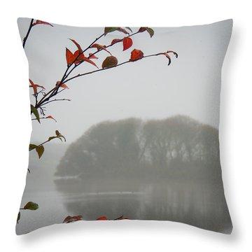 Irish Crannog In The Mist Throw Pillow