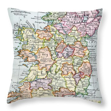 Irish Free State And Northern Ireland From Bacon S Excelsior Atlas Of The World Throw Pillow