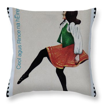 Irish Music And Dance Postage Stamp Print Throw Pillow