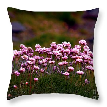 Irish Sea Pinks Throw Pillow by Patricia Griffin Brett