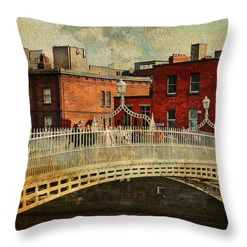 Irish Venice. Streets Of Dublin. Painting Collection Throw Pillow by Jenny Rainbow