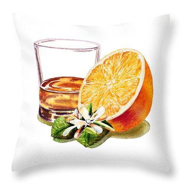 Throw Pillow featuring the painting Irish Whiskey And Orange by Irina Sztukowski