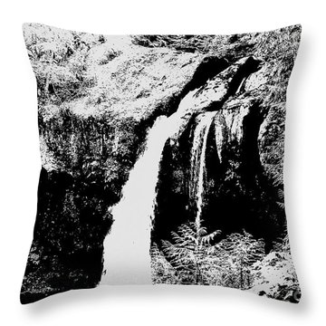 Iron Creek Falls Bw Throw Pillow
