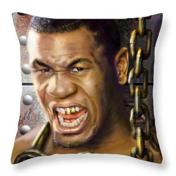 Iron Mike Tyson-no Blood No Glory 1a Throw Pillow by Reggie Duffie