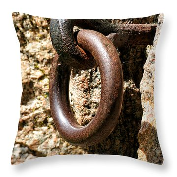 Iron Rings In Stone Throw Pillow