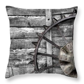 Iron Tractor Wheel Throw Pillow