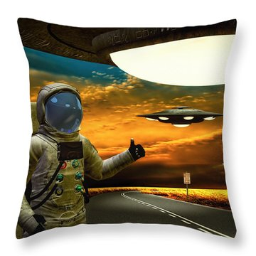 Ironic Number Four - Hitchhiker Throw Pillow by Bob Orsillo