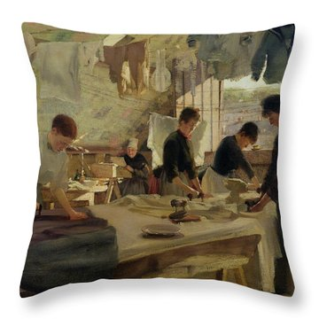 Ironing Workshop In Trouville Throw Pillow by Louis Joseph Anthonissen