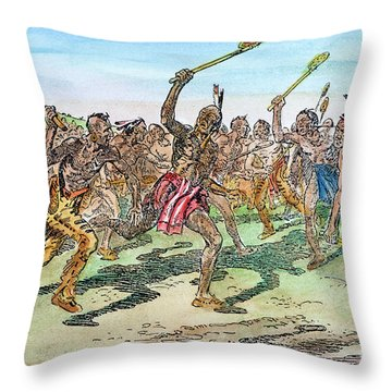 Iroquois - Lacrosse.  Throw Pillow by Granger