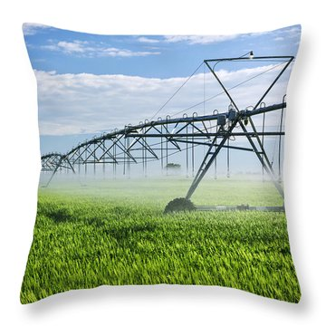 Irrigation Equipment On Farm Field Throw Pillow