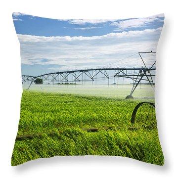 Irrigation On Saskatchewan Farm Throw Pillow