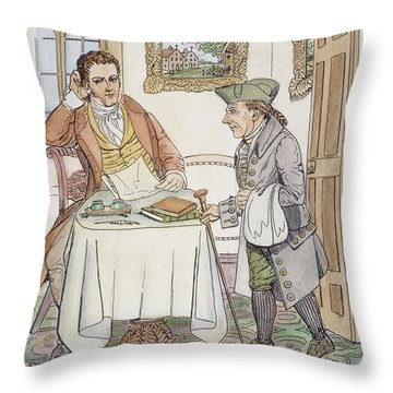 Throw Pillow featuring the painting Irving & Knickerbocker by Granger