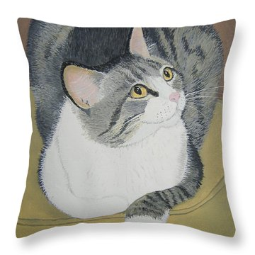 Throw Pillow featuring the painting Is Dinner Ready by Norm Starks