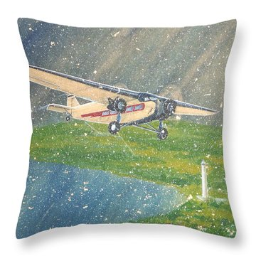 Island Airlines Ford Trimotor Over Put-in-bay In The Winter Throw Pillow by Frank Hunter