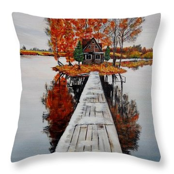 Island Cabin Throw Pillow by Marilyn  McNish