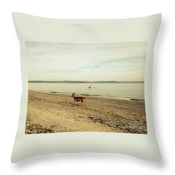 Island Deer Throw Pillow