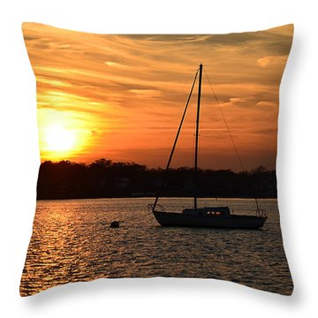 Throw Pillow featuring the photograph Island Heights Sunset by Brian Hughes