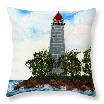 Island Lighthouse Throw Pillow by Barbara Griffin