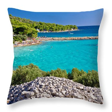 Island Murter Turquoise Lagoon Beach Throw Pillow by Brch Photography