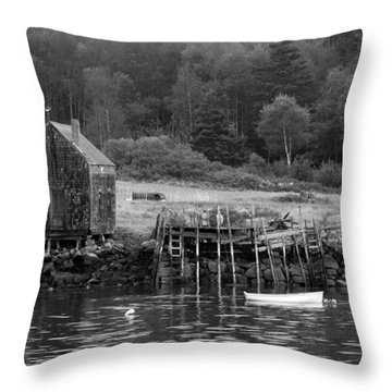 Island Shoreline In Black And White Throw Pillow