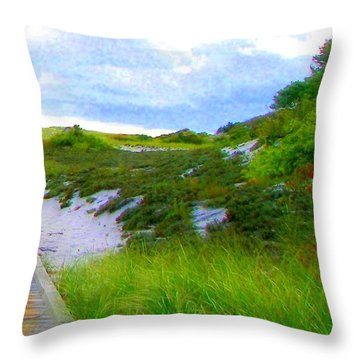 Island State Park Boardwalk Throw Pillow by Pamela Hyde Wilson