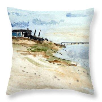 Isolated Beach House Throw Pillow