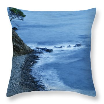Isolated Tree On A Cliff Overlooking A Throw Pillow by Ken Welsh