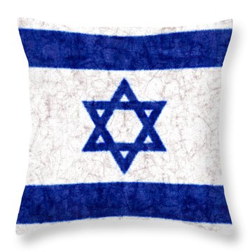 Israel Star Of David Flag Batik Throw Pillow