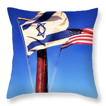 Israeli Flag And Us Flag Throw Pillow by Thomas R Fletcher