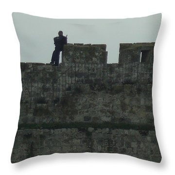 Israeli Soldier On The Walls Of The Old City Throw Pillow by Esther Newman-Cohen