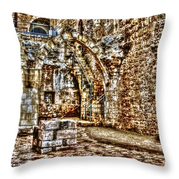Throw Pillow featuring the photograph Israels Ruins by Doc Braham