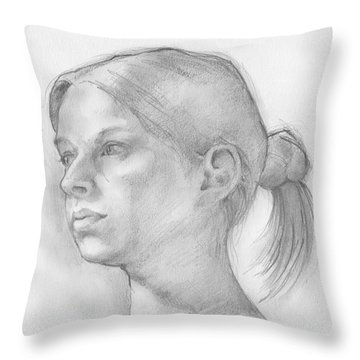 Throw Pillow featuring the drawing Issabell by Paul Davenport