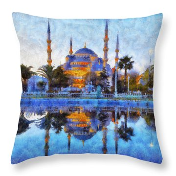 Istanbul Blue Mosque  Throw Pillow by Lilia D