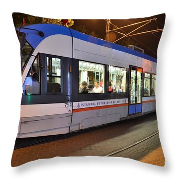 Istanbul Tram At Night Throw Pillow by Imran Ahmed