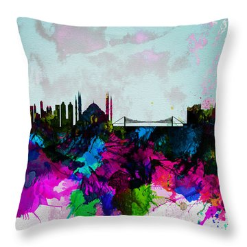 Istanbul Watercolor Skyline Throw Pillow