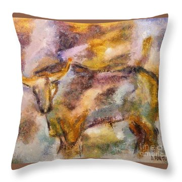 Throw Pillow featuring the painting Istrian Bull -  Boshkarin by Dragica  Micki Fortuna