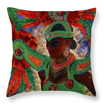 It Looks Like Mardi Gras Time Throw Pillow by Margaret Bobb