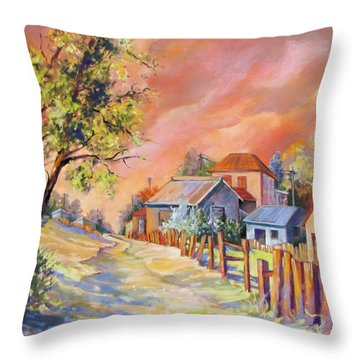 Throw Pillow featuring the painting It Takes A Village by Rae Andrews