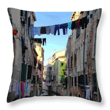 Italian Clotheslines Throw Pillow