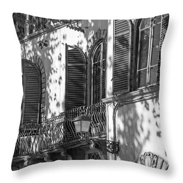 Italian Facade In Bw Throw Pillow