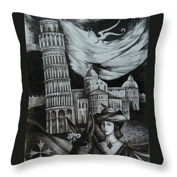 Italian Fantasies. Pisa Throw Pillow