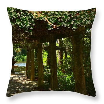 Italian Garden Pergola And Fountain Throw Pillow