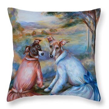 Italian Greyhounds Renoir Style Throw Pillow