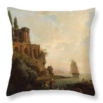 Italian Harbor Scene Throw Pillow