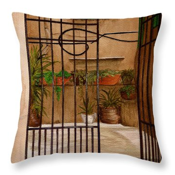 Italian Iron Gate Throw Pillow by Nan Wright