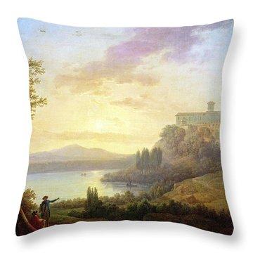 Italian Landscape, Setting Sun Throw Pillow