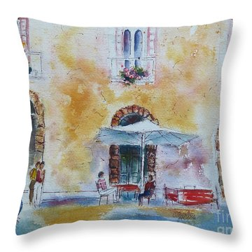 Italian Piazza Throw Pillow by Carolyn Jarvis
