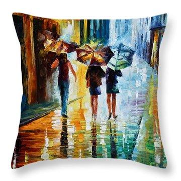 Italian Rain Throw Pillow by Leonid Afremov