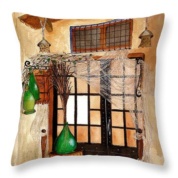 Throw Pillow featuring the painting Italian Restaurant  by Nan Wright